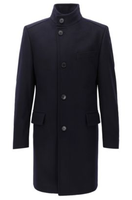 Regular-fit virgin-wool-blend coat with stand collar, Dark Blue