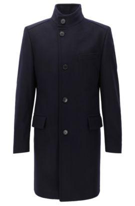 Manteau Regular Fit en laine vierge mélangée à col montant, Bleu foncé
