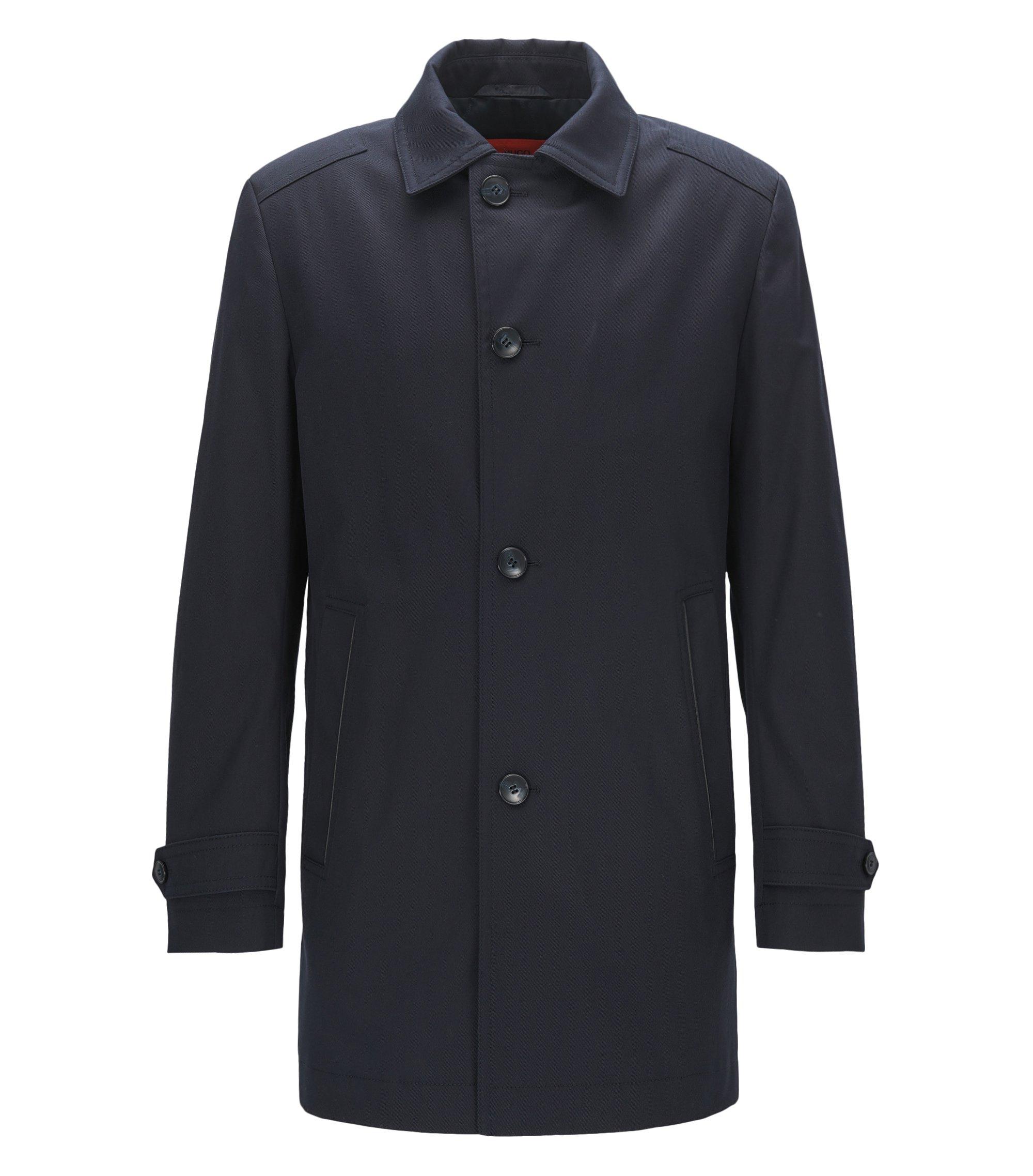 Abrigo regular fit en algodón elástico repelente al agua, Azul oscuro