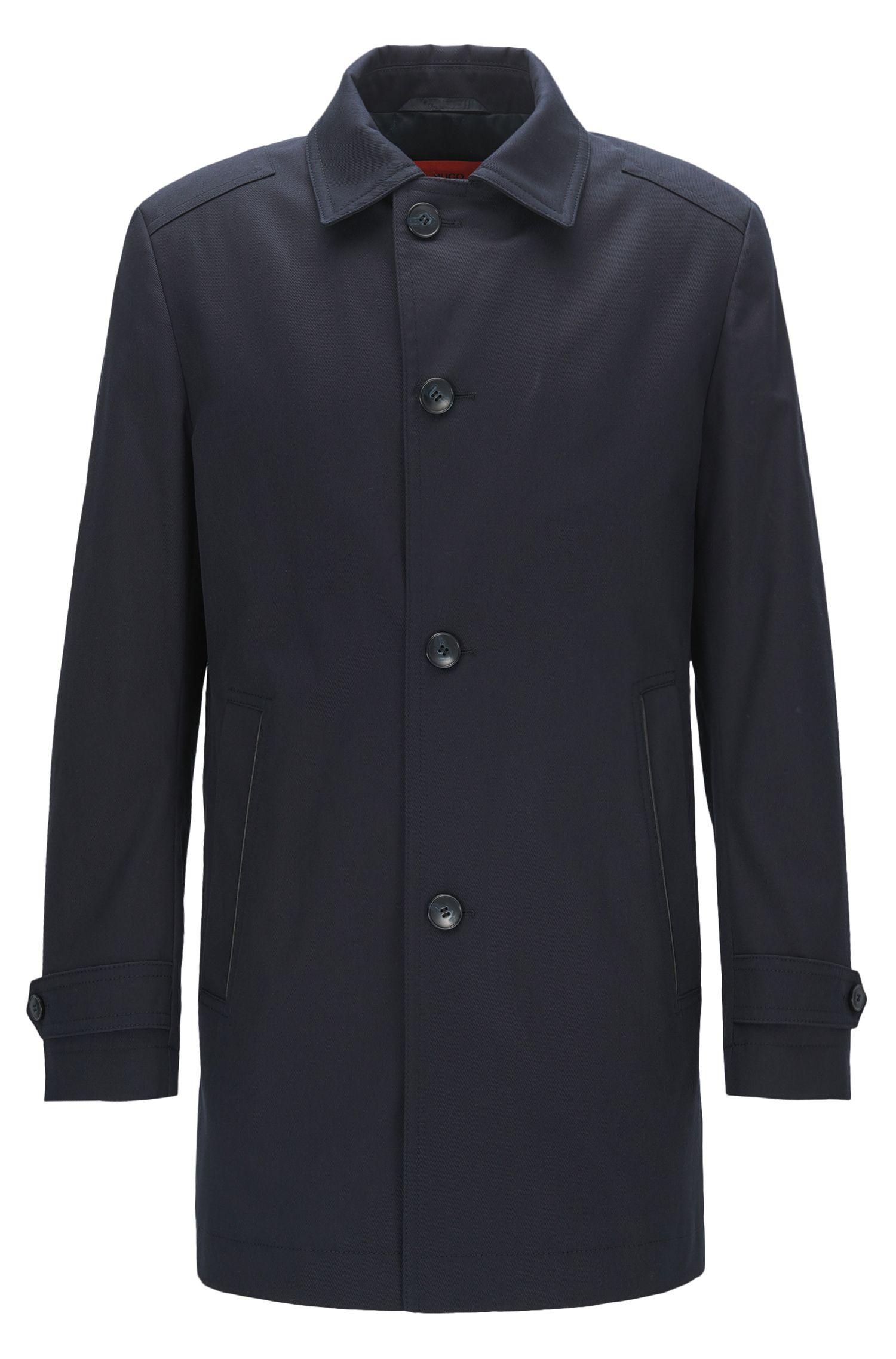 Regular-fit coat in water-repellent stretch cotton