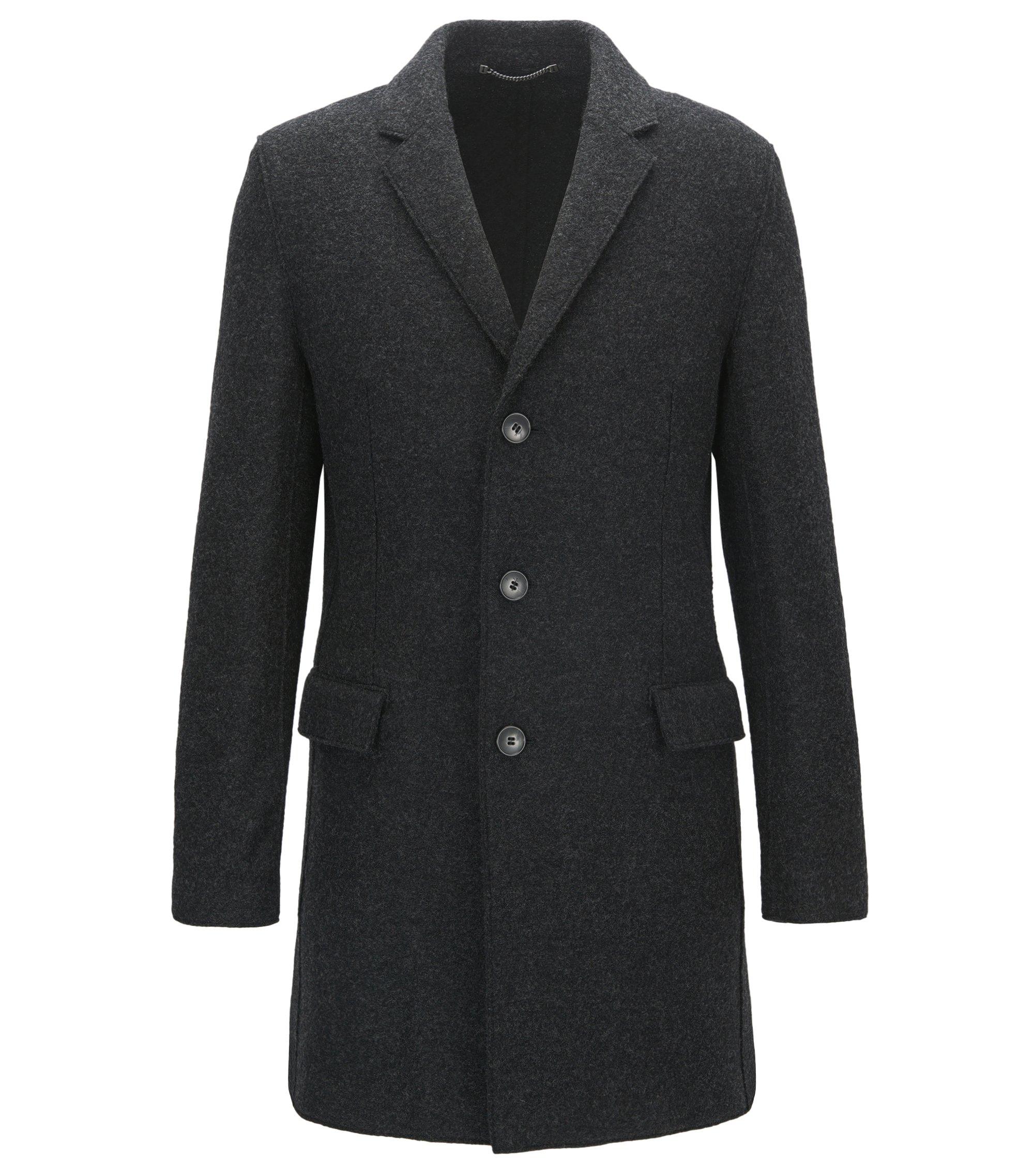 Cappotto slim fit in lana vergine mélange con revers classici, Grigio antracite