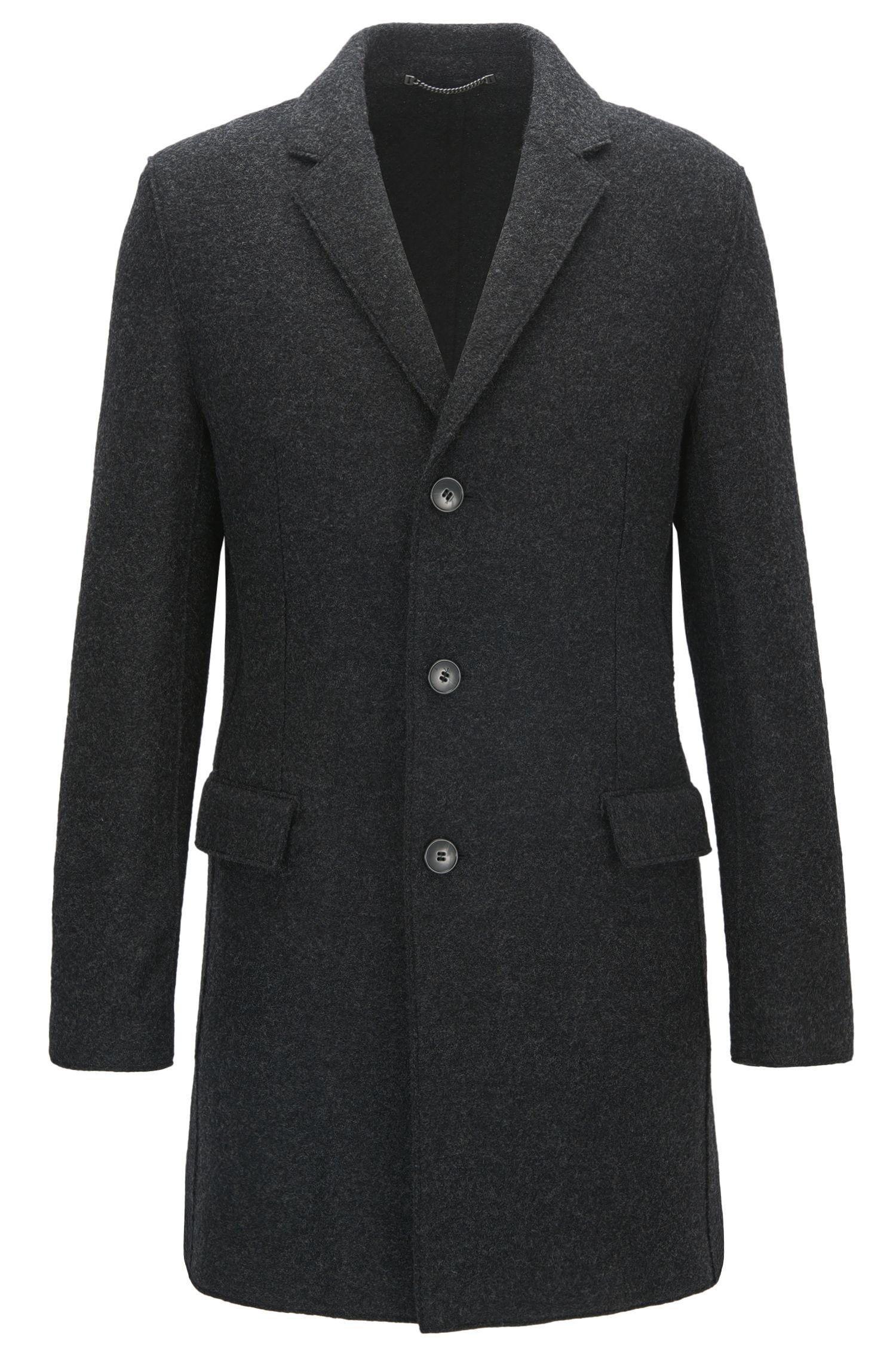 Melierter Slim-Fit Mantel aus Schurwolle mit fallendem Revers