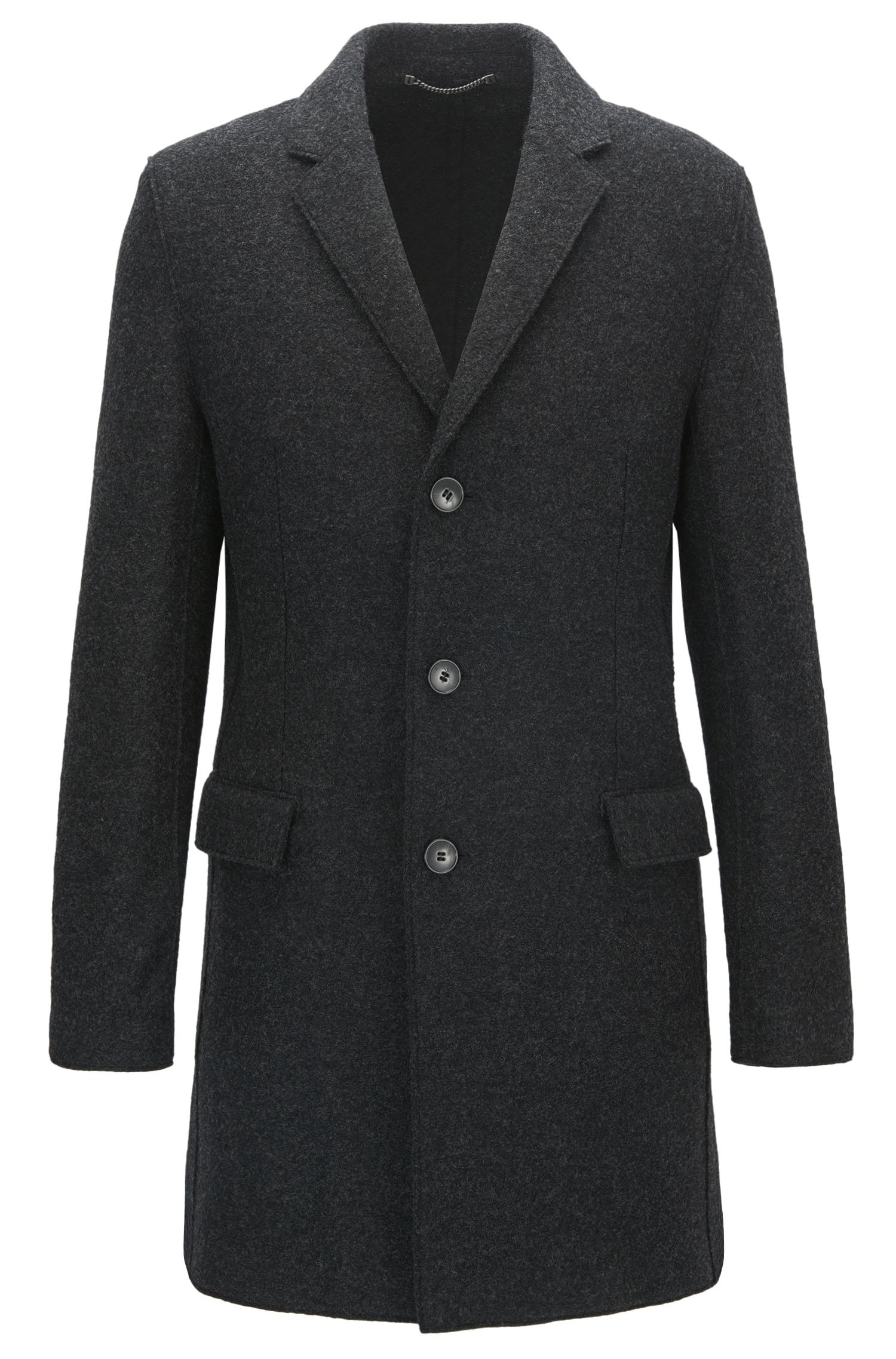 Melange slim-fit virgin wool coat with notch lapels