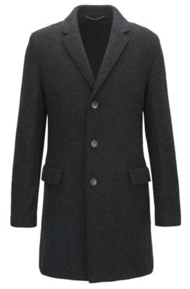 Melange slim-fit virgin wool coat with notch lapels, Anthracite