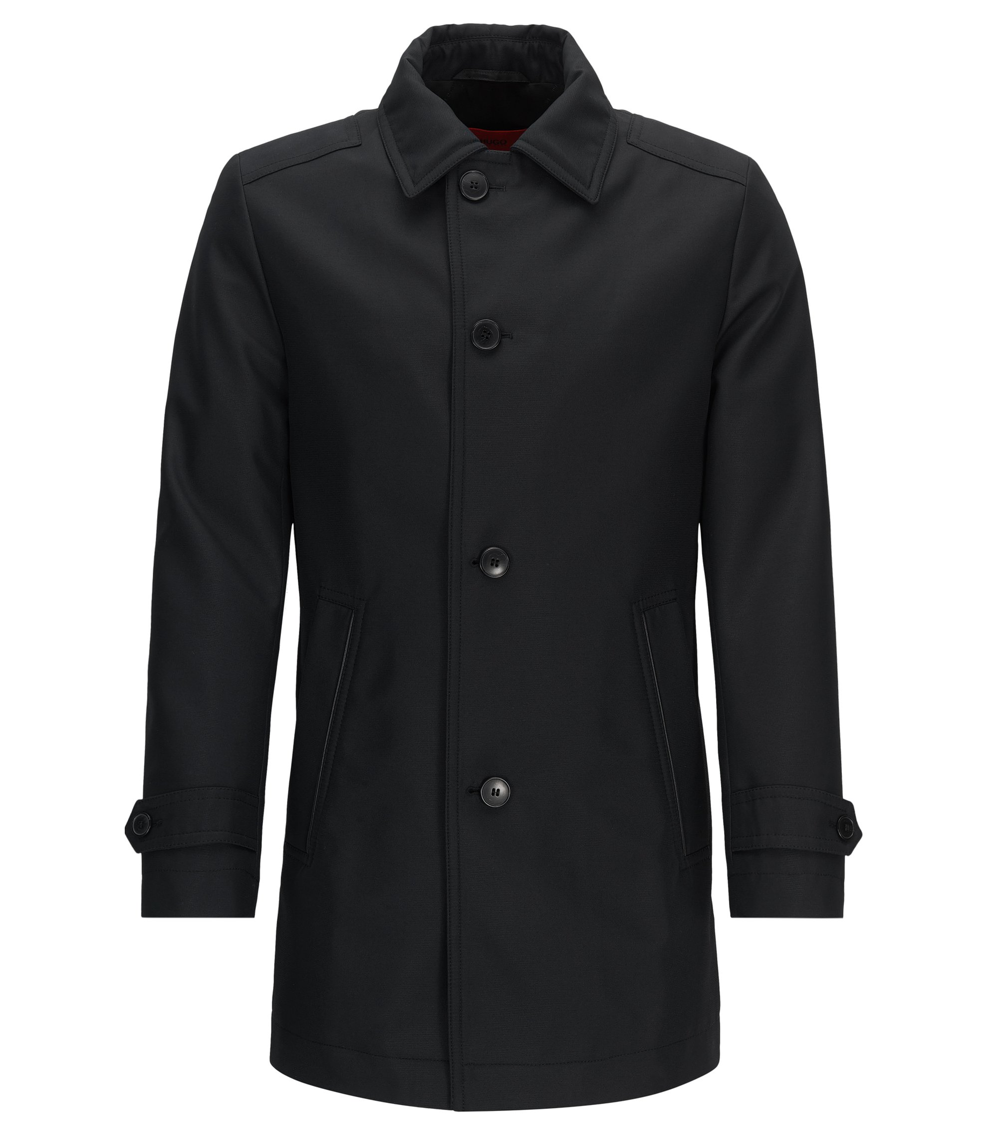 Regular-fit padded coat in technical fabric, Black