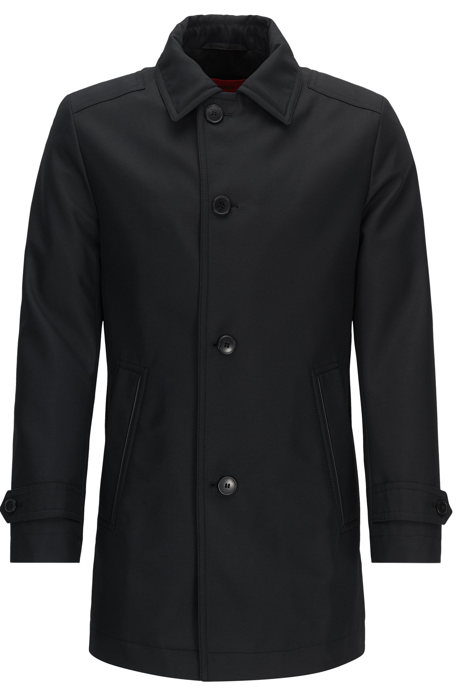 Regular-fit padded coat in technical fabric