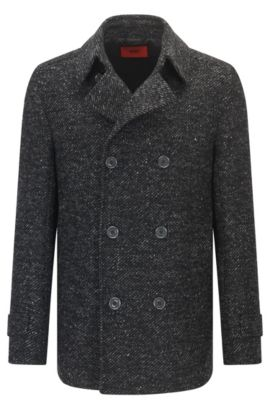 Slim-fit caban jacket in a wool blend, Anthracite