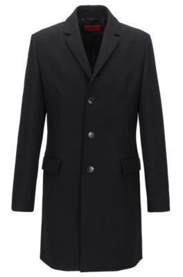 Slim-fit mantel van een technische materiaalmix, Zwart