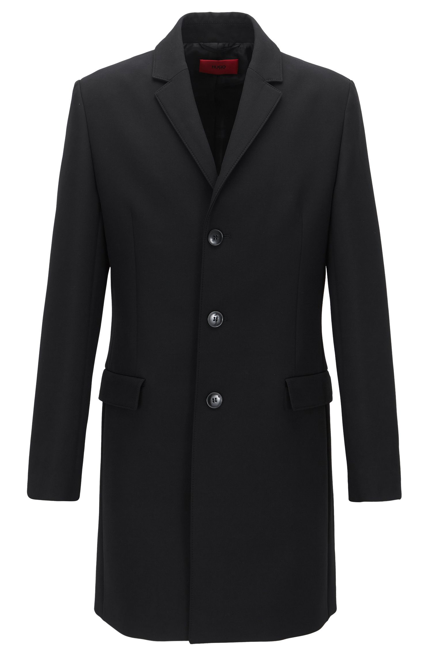 Slim-fit coat in a technical fabric blend