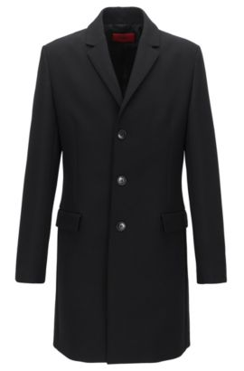 Slim-fit coat in a technical fabric blend, Black