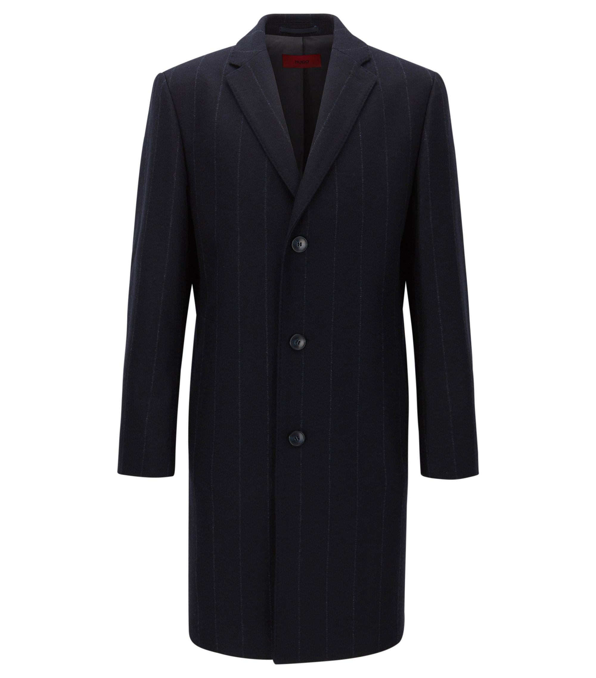 Regular-fit mantel van een wolmix met krijtstrepen, Donkerblauw