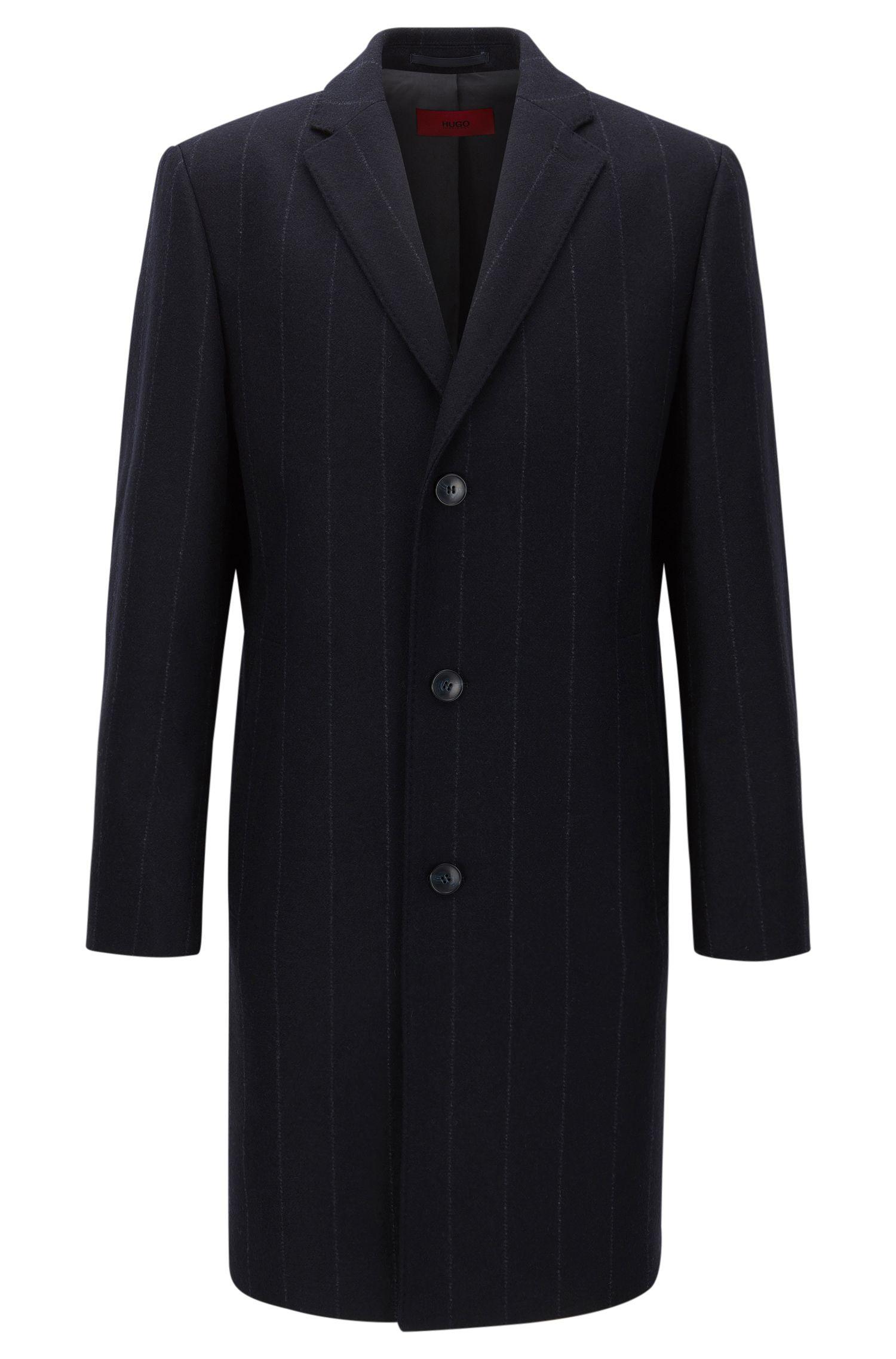 Regular-fit mantel van een wolmix met krijtstrepen