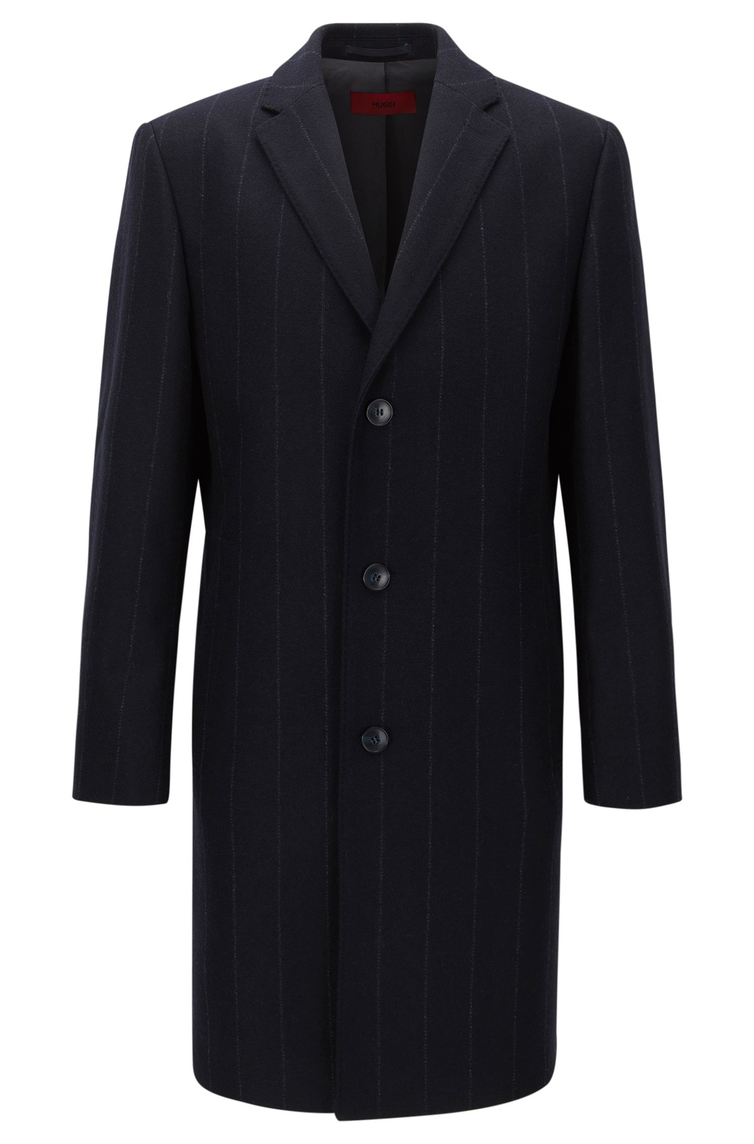 Cappotto regular fit in misto lana con motivo gessato chalk stripe