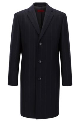 Regular fit chalk-stripe coat in a wool blend, Dunkelblau