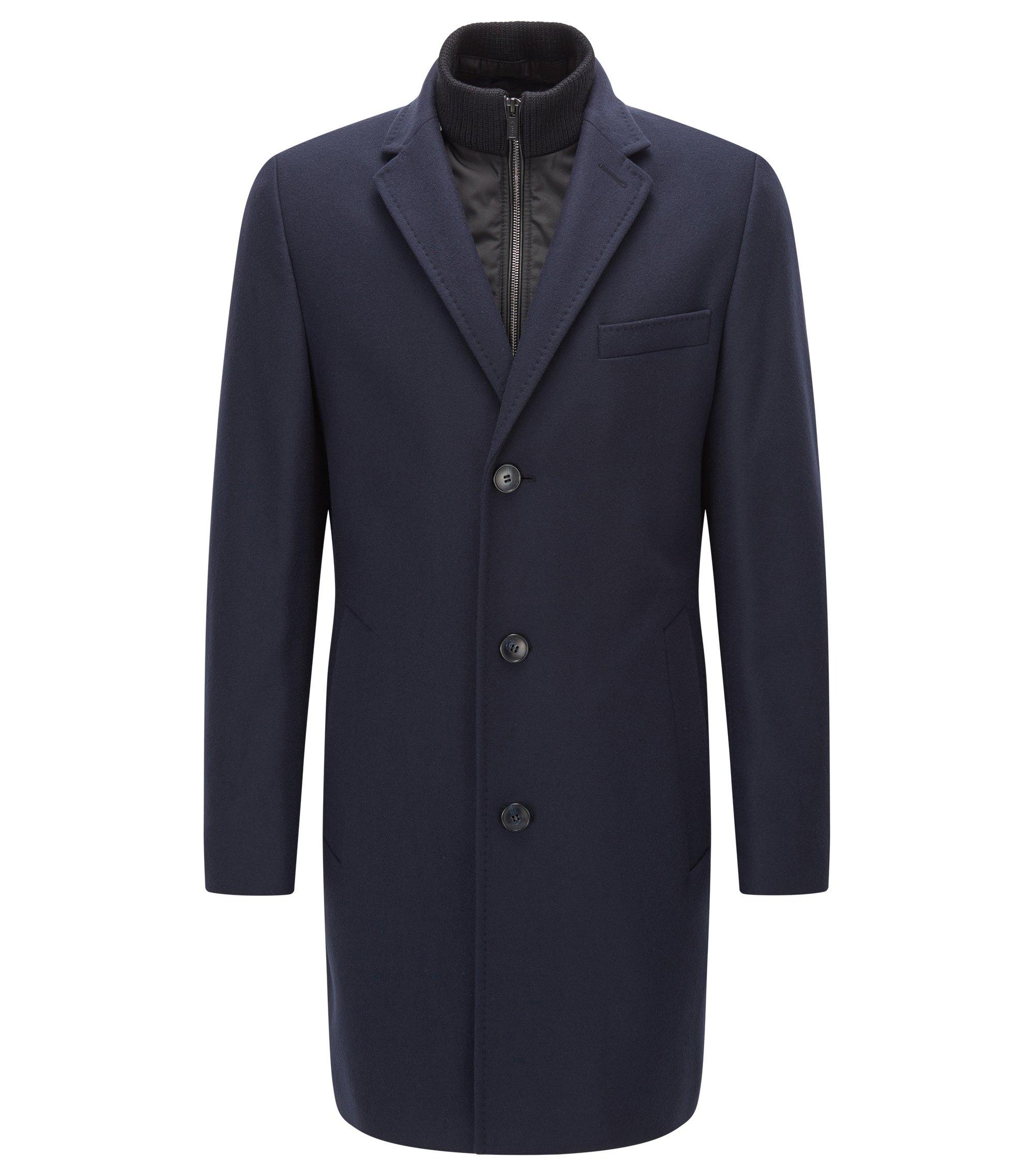 Pardessus Regular Fit en laine mélangée à col mao zippé, Bleu foncé