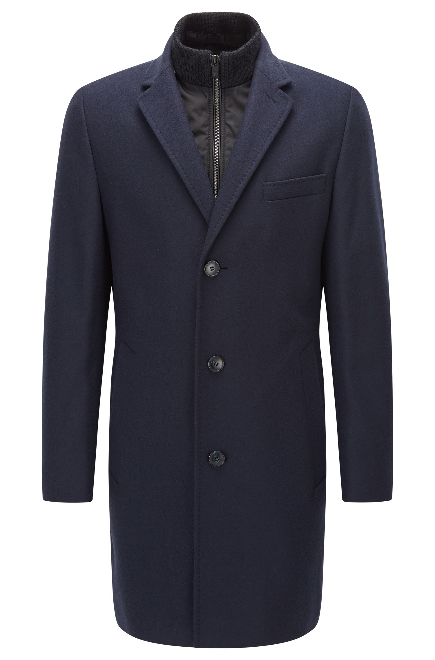 Regular-fit wool-blend overcoat with zip stand collar