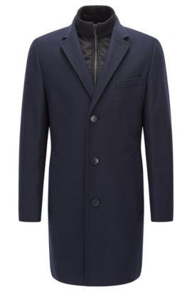 Soprabito regular fit in misto lana con colletto rialzato con zip, Blu scuro
