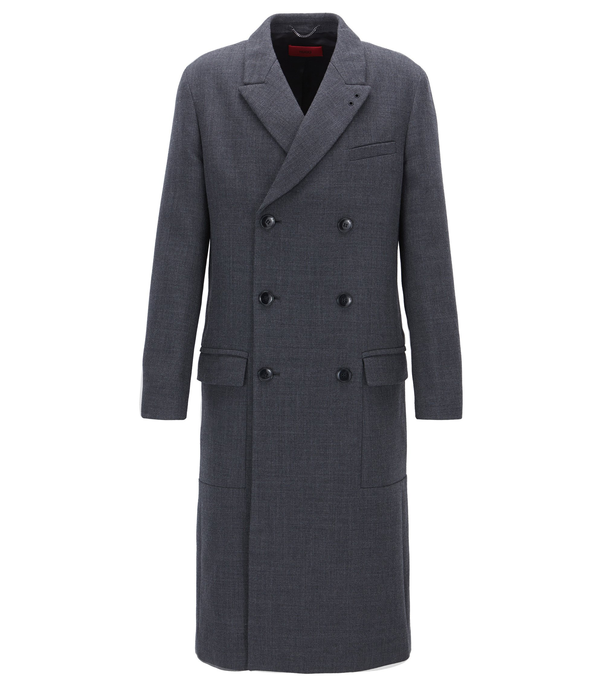 Double-breasted coat in structured fabric, Dark Grey