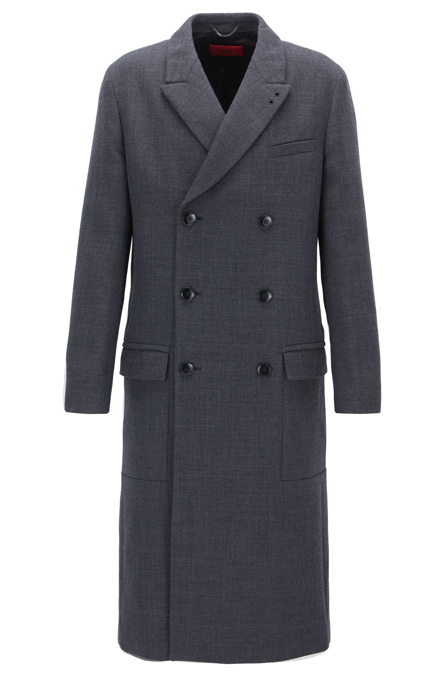 Double-breasted coat in structured fabric