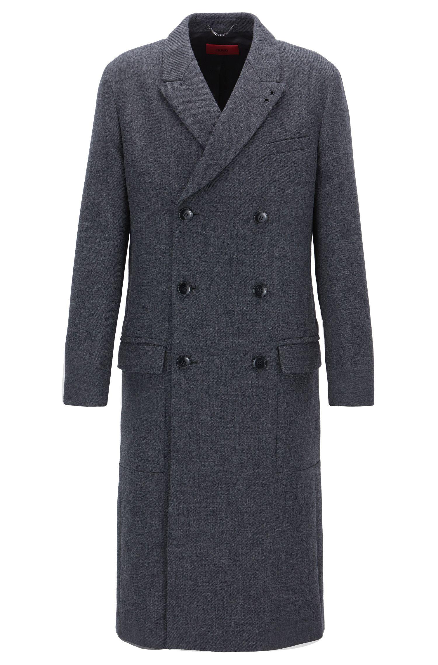 Zweireihiger Mantel aus Baumwoll-Mix mit Schurwolle
