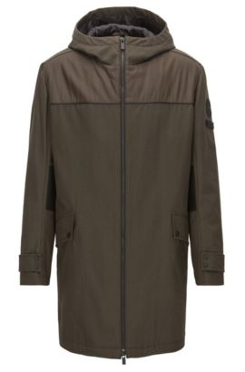 Regular-fit panelled parka in stretch cotton, Dark Green