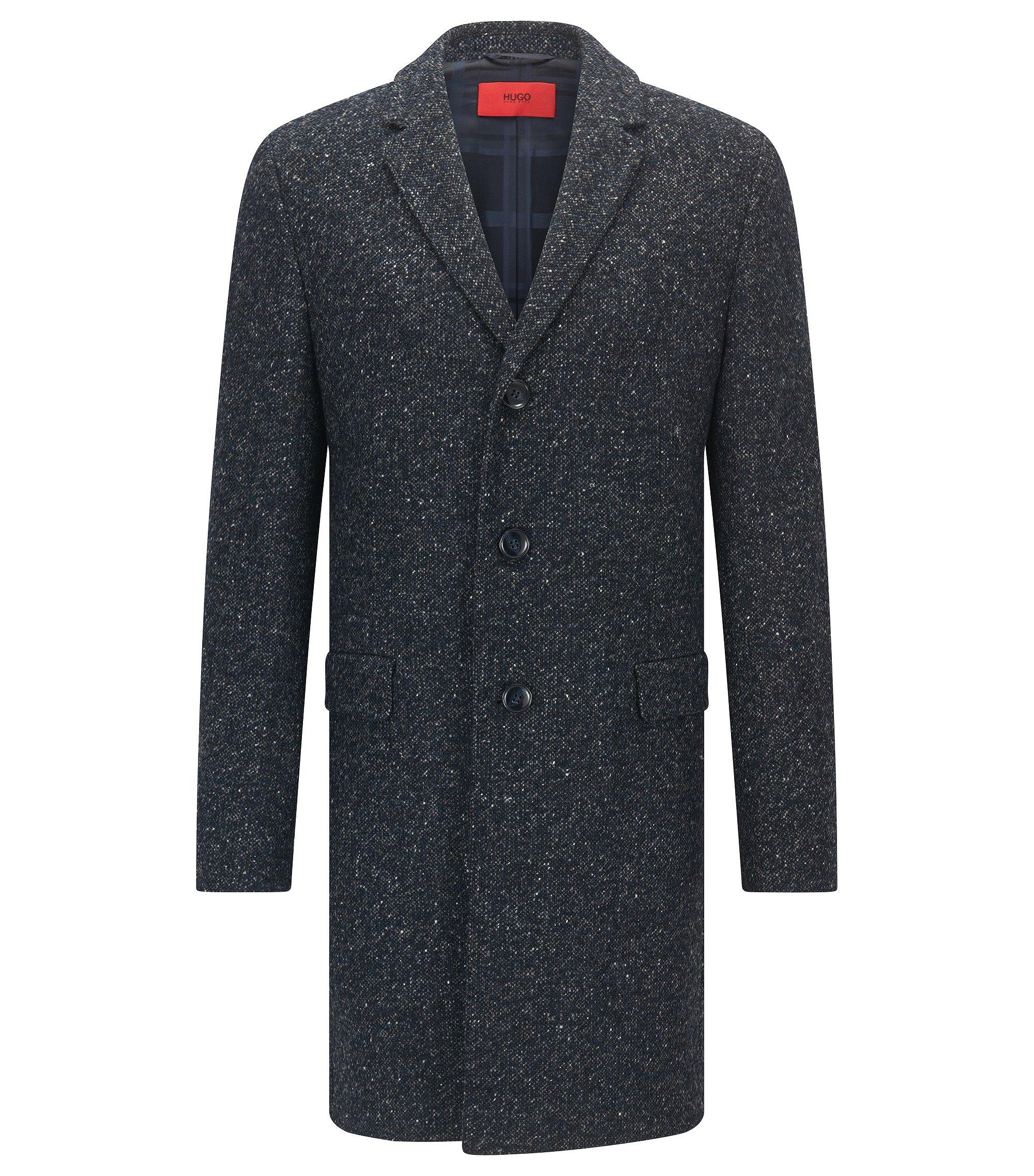 Abrigo slim fit en mezcla de lana moteada , Azul oscuro