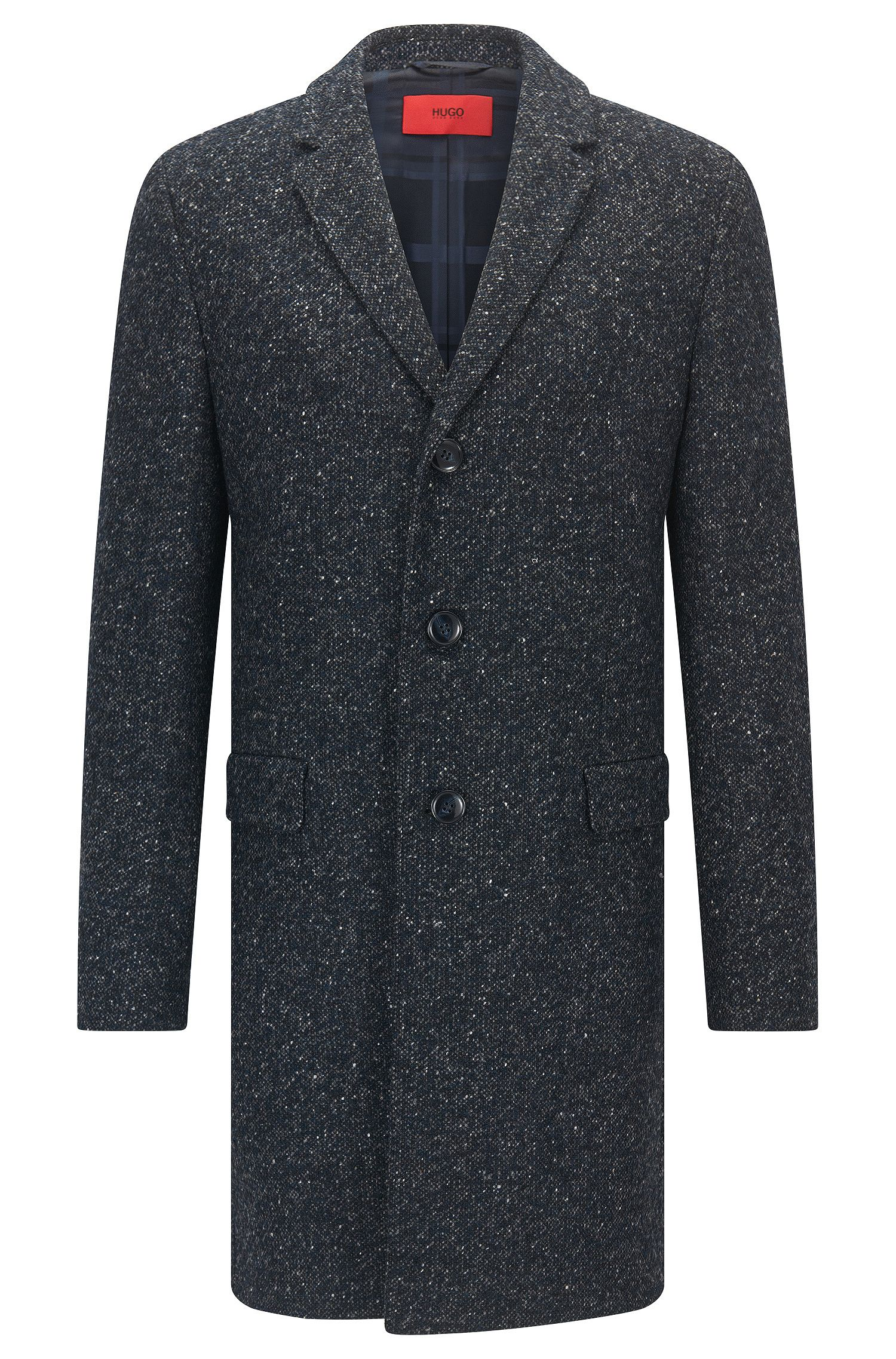 Cappotto slim fit in misto lana screziato
