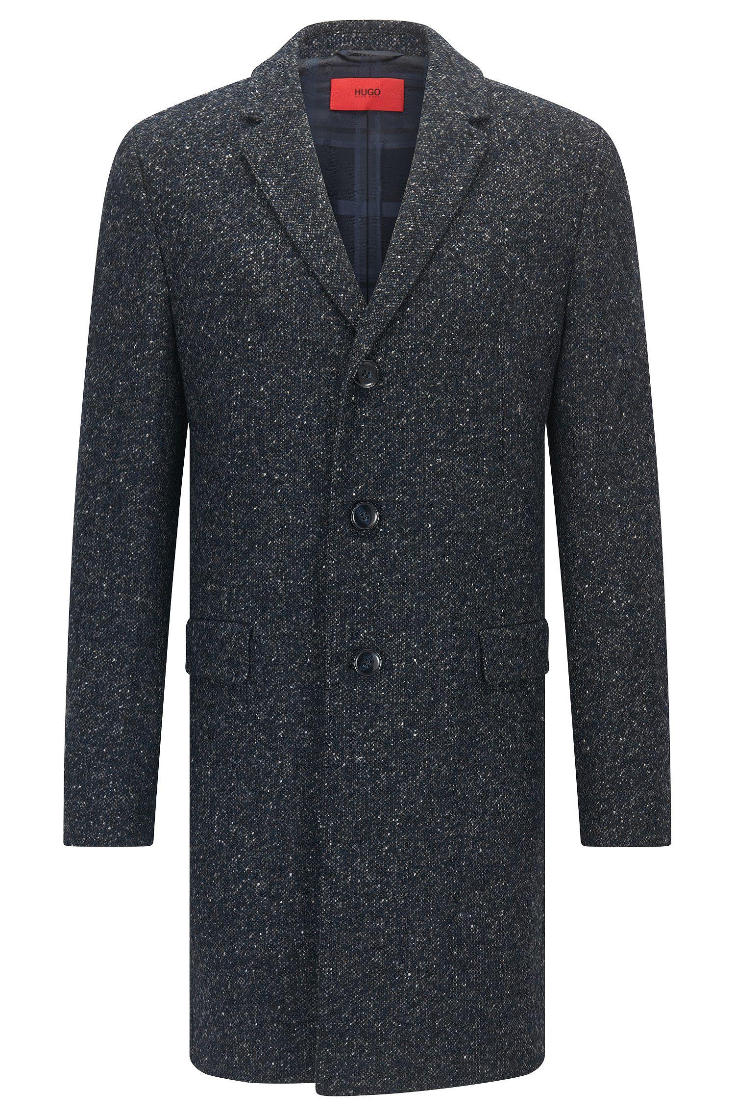 Slim-fit mantel van een gespikkelde wolmix