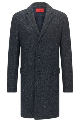 Slim-fit coat in a flecked wool blend , Dark Blue