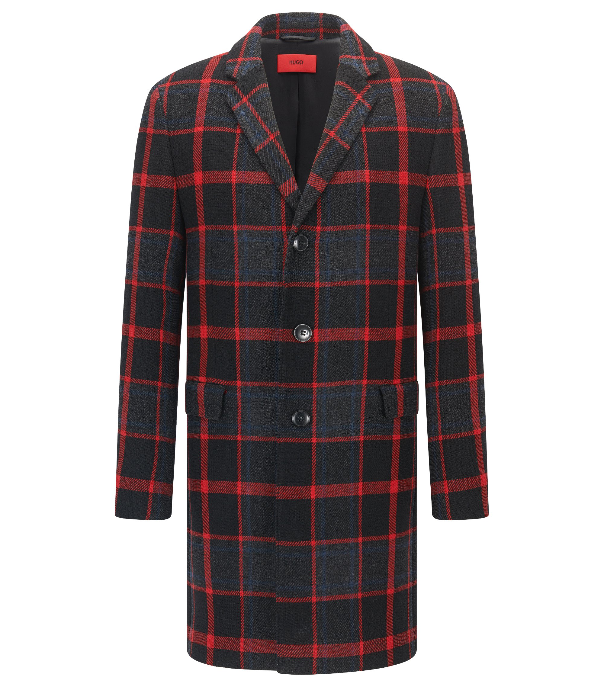 Slim-fit coat in plaid fabric, Patterned
