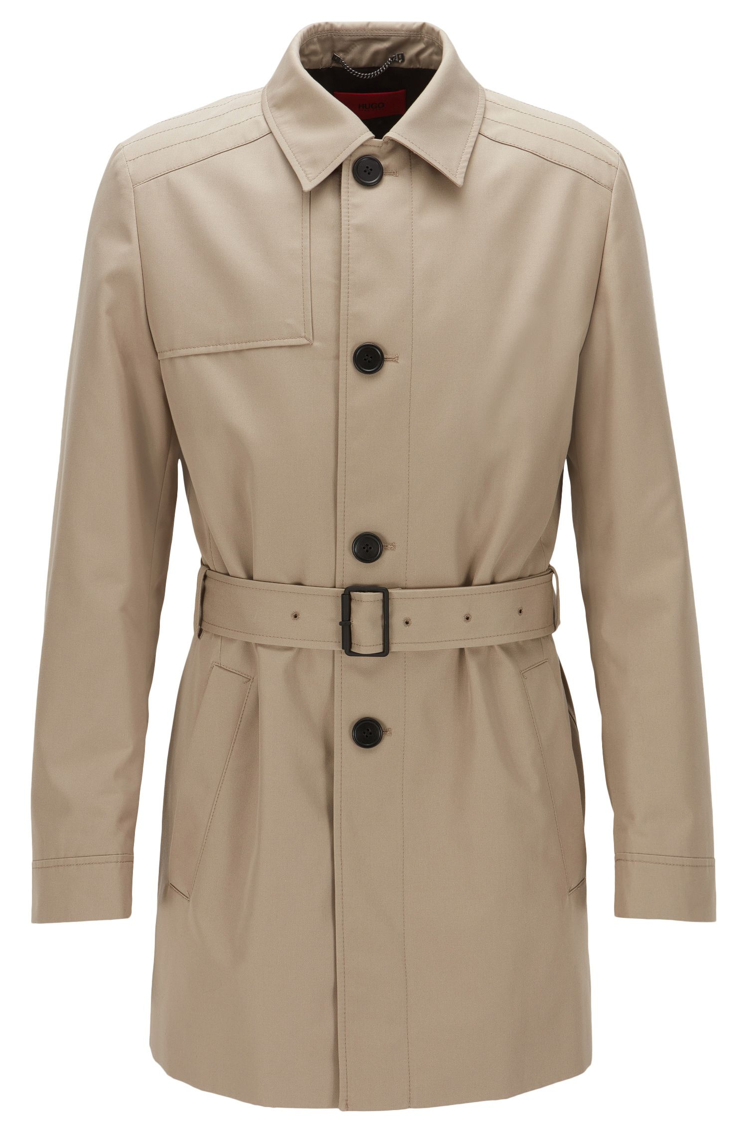 Middellange slim-fit trenchcoat van waterafstotend materiaal