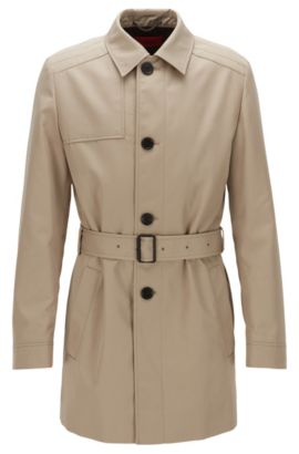 Trench-coat mi-long Slim Fit en tissu imperméable, Beige