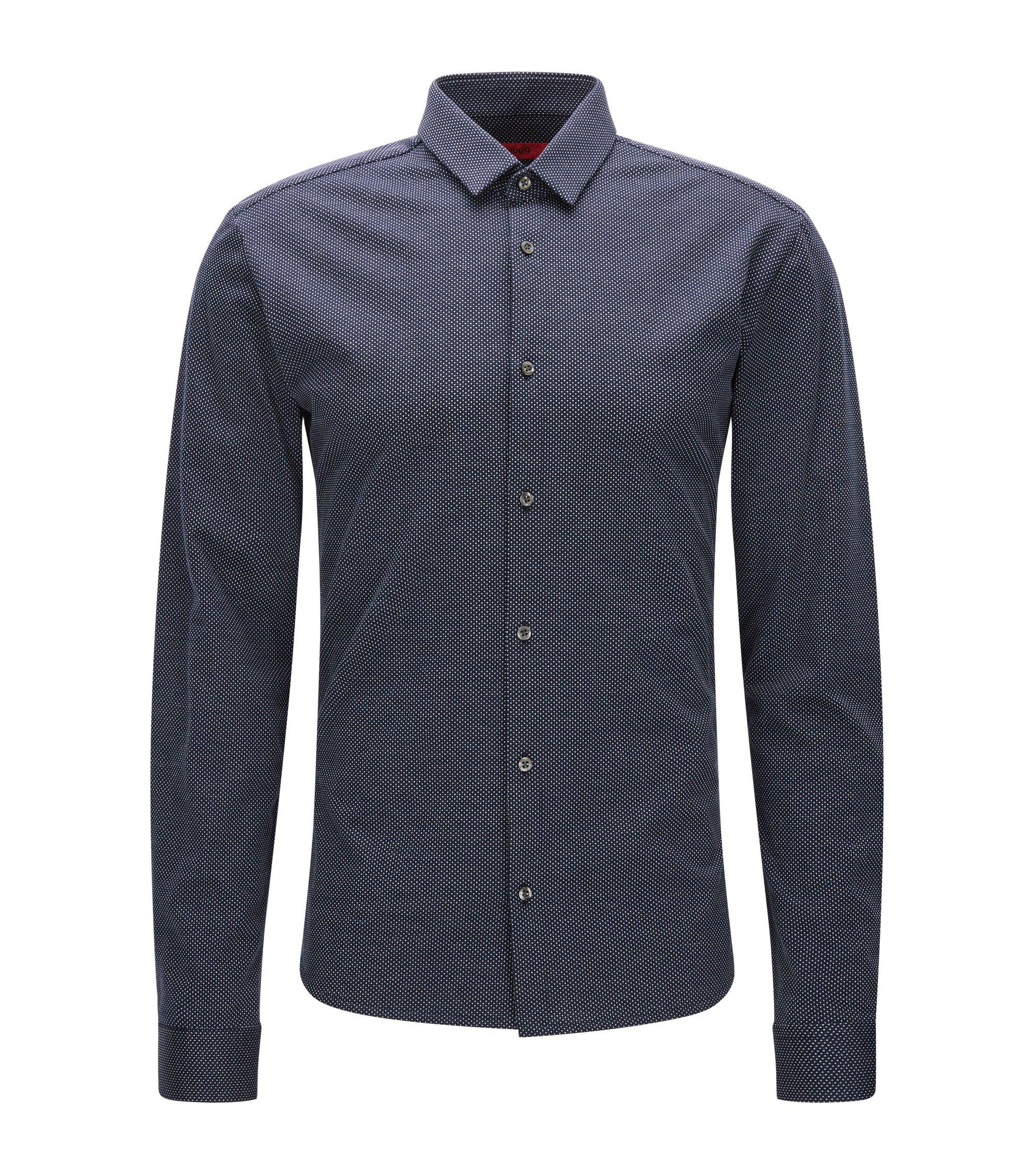 Gepunktetes Slim-Fit Hemd aus Single Jersey, Dunkelblau