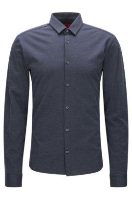 Camisa slim fit en punto sencillo con microlunares, Azul oscuro