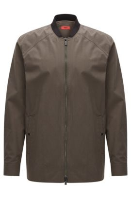 Relaxed-fit shirt jacket in mid-weight cotton, Dark Green