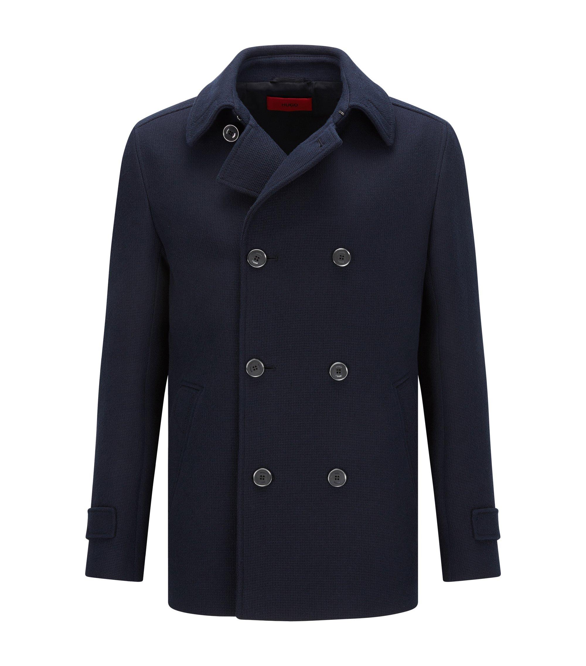 Slim-fit caban coat in textured cotton, Dark Blue