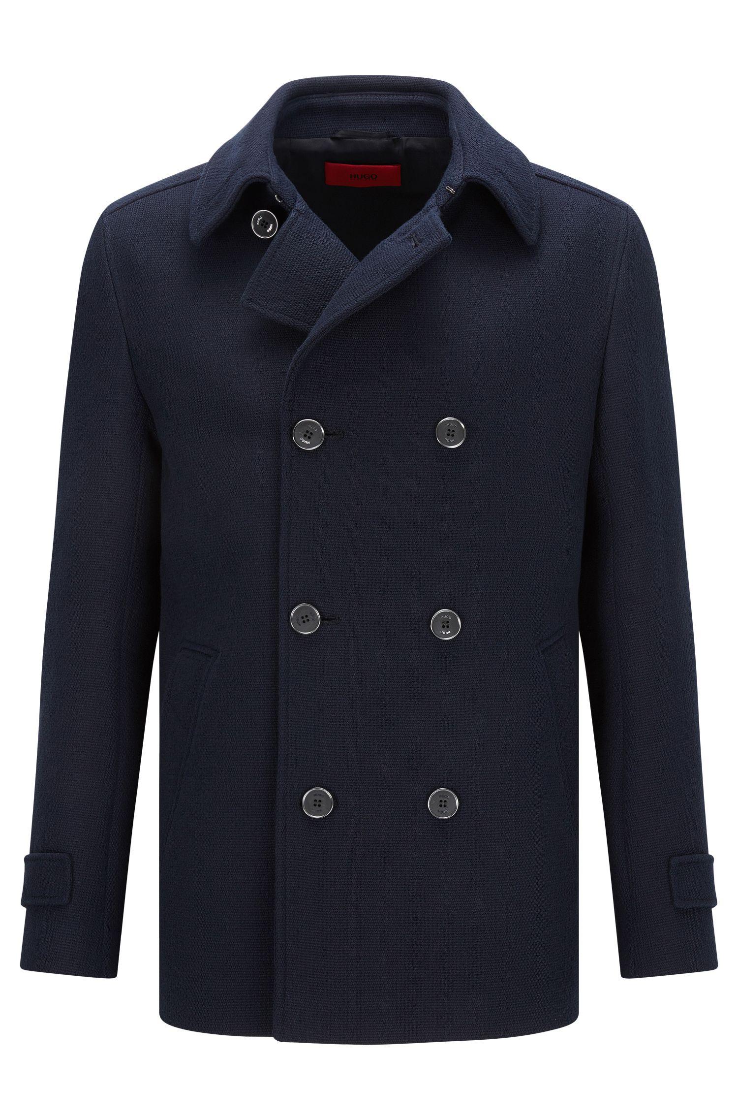 Slim-fit caban coat in textured cotton
