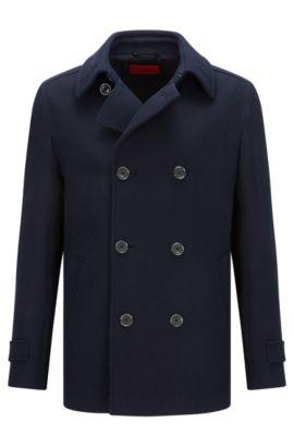 Gabán slim fit en algodón con textura, Azul oscuro