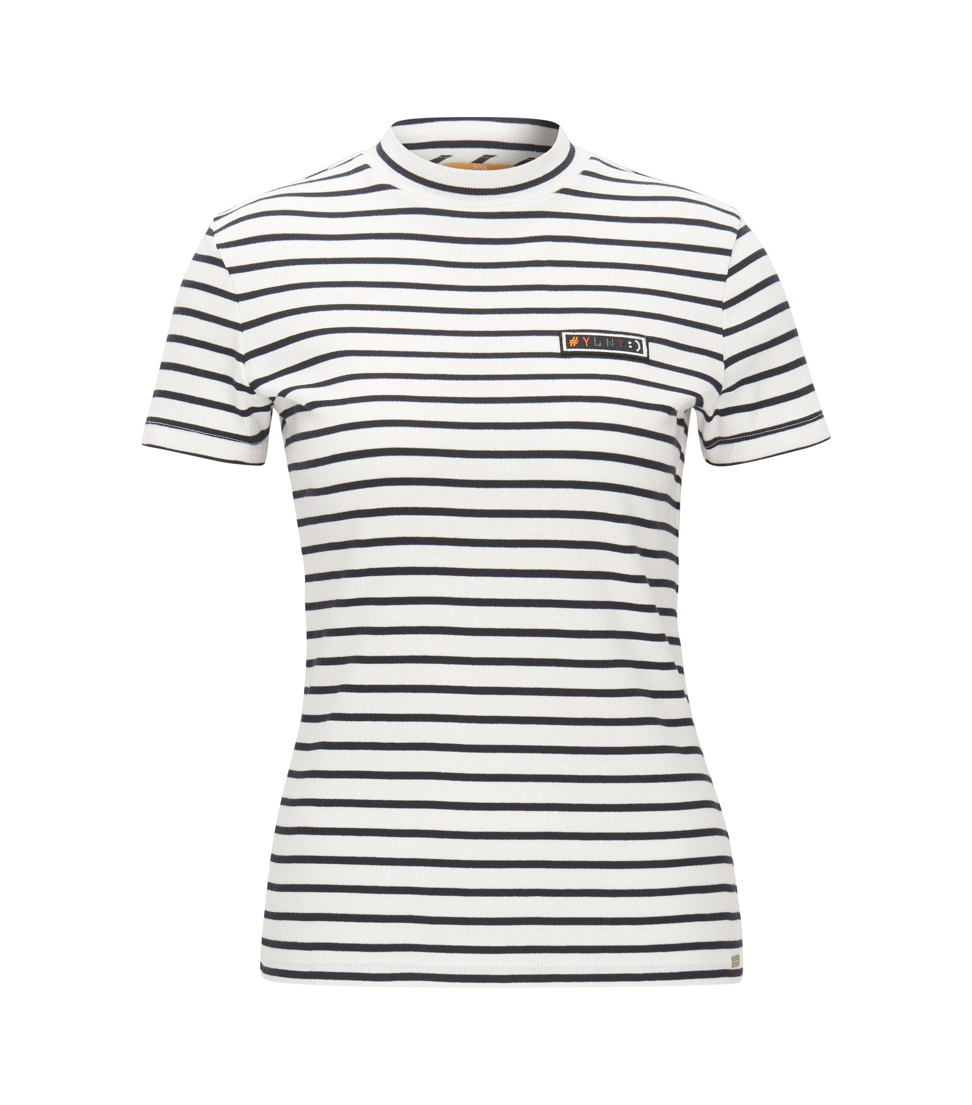 Slim-fit T-shirt in striped rib jersey, Natural