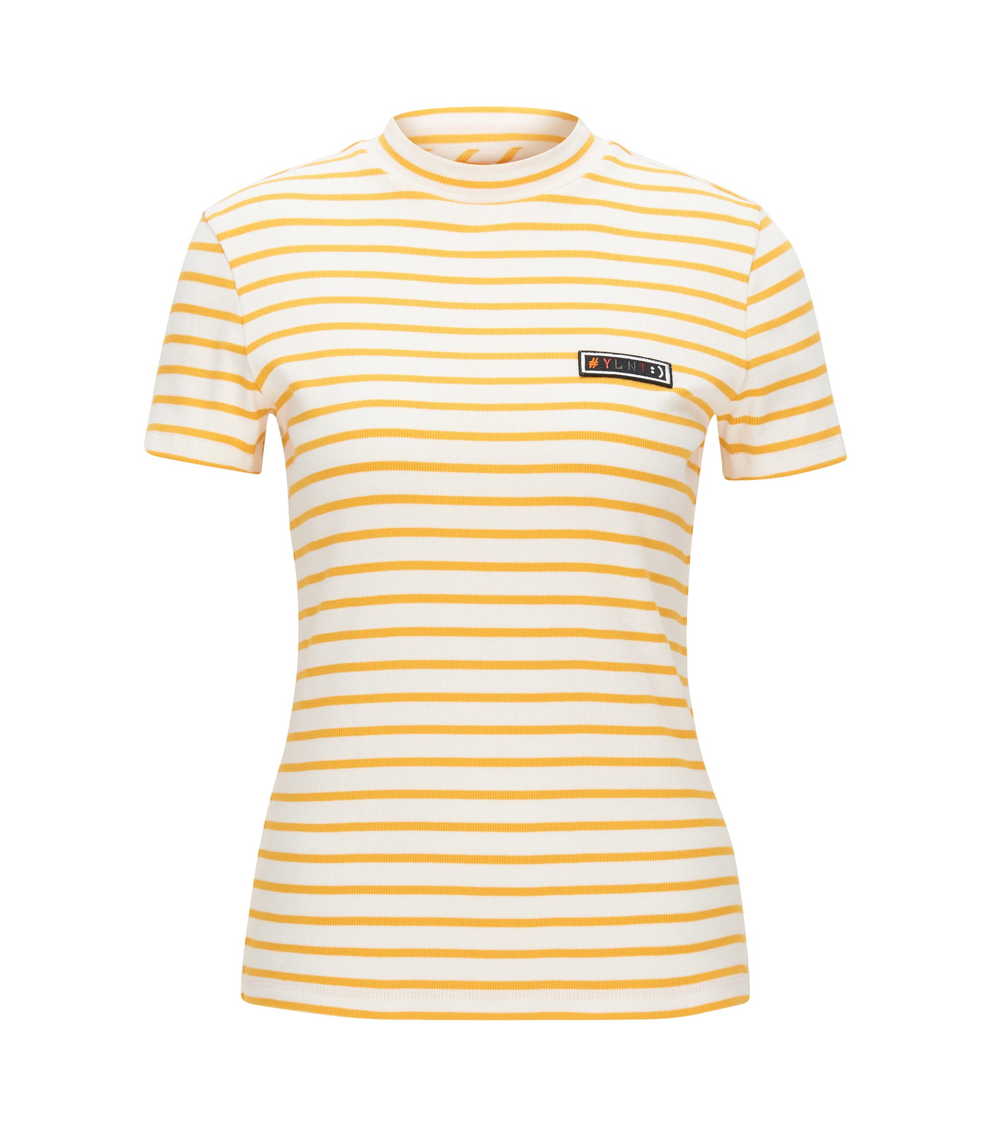 Slim-fit T-shirt in striped rib jersey, Gold