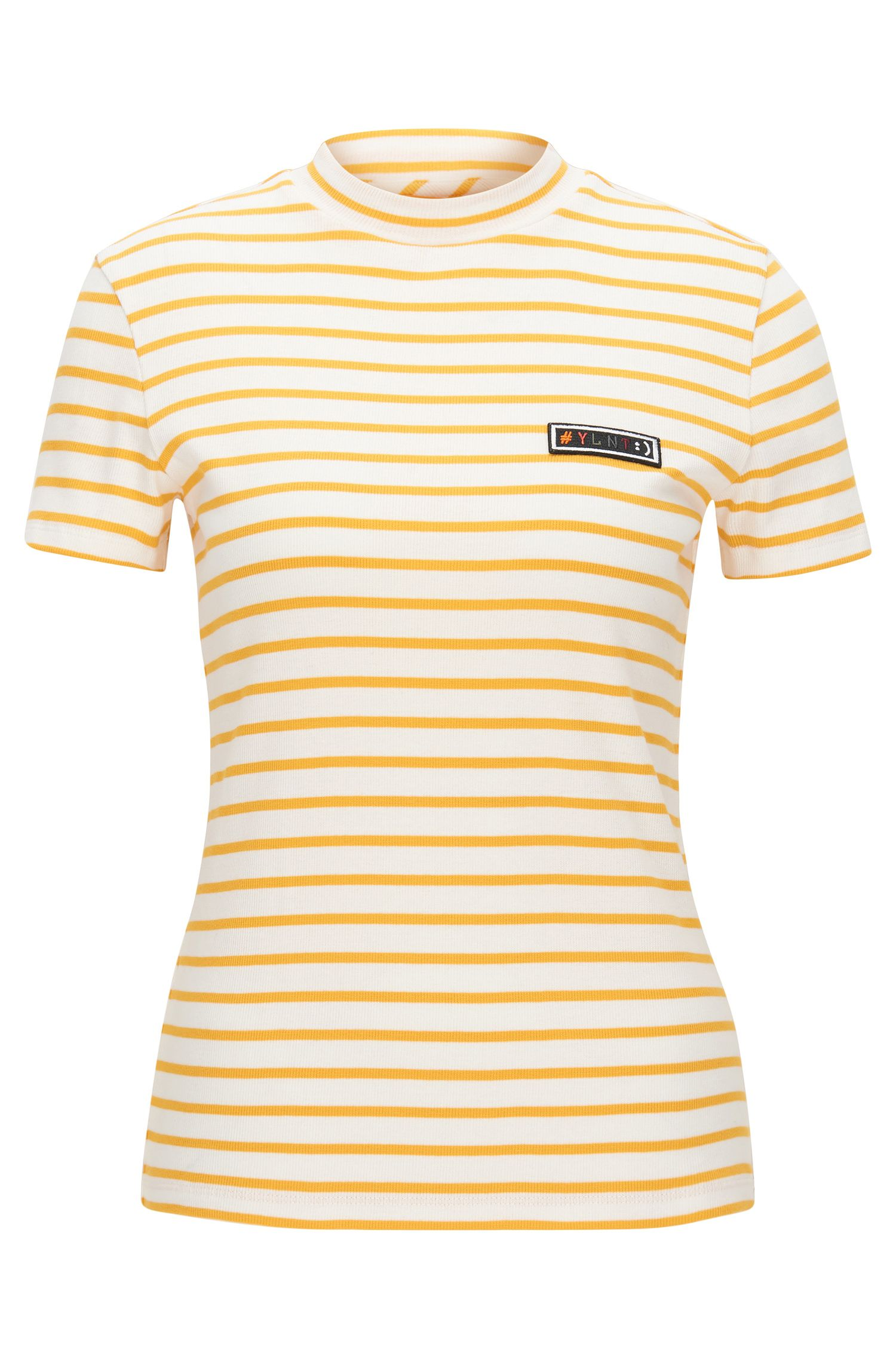 Slim-fit T-shirt in striped rib jersey