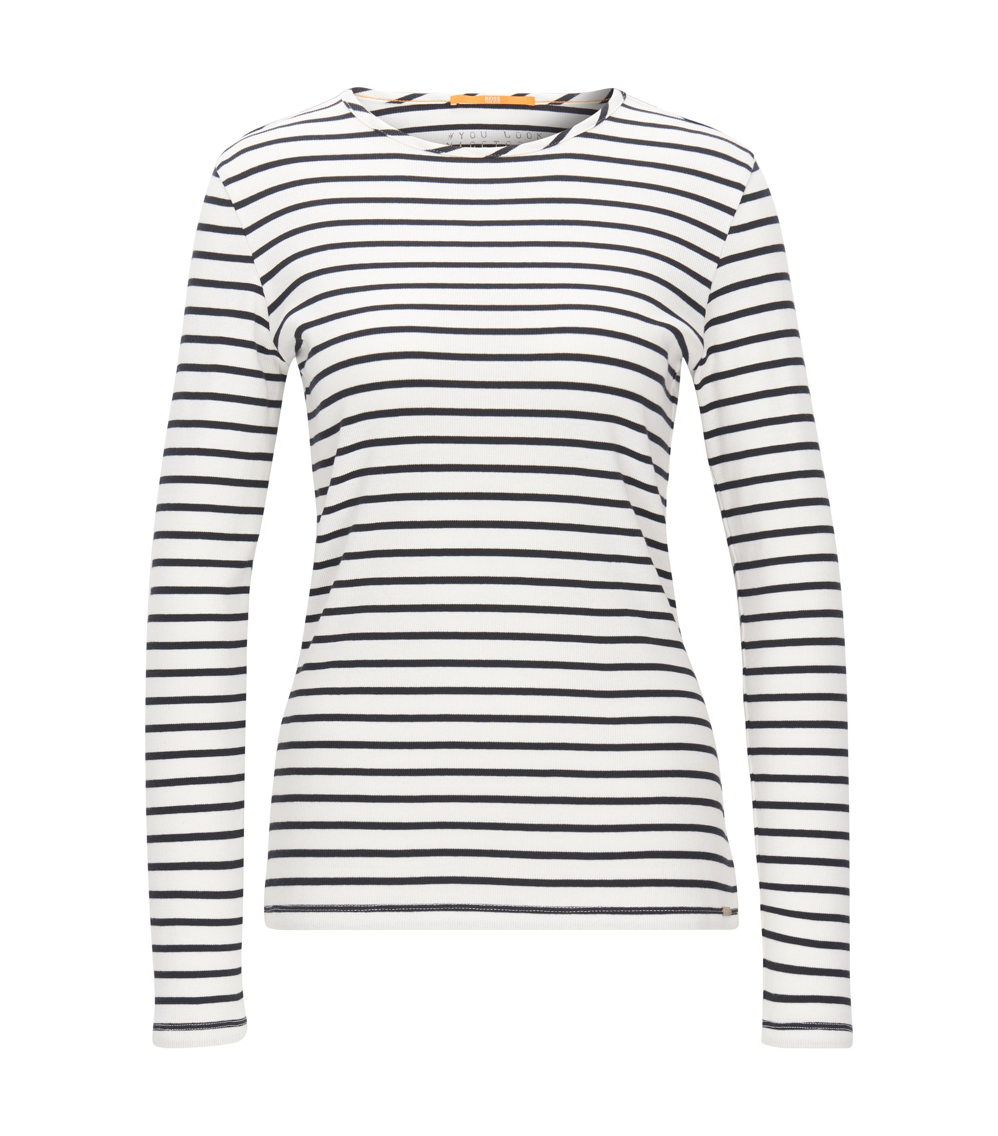 Slim-fit long-sleeved T-shirt in rib jersey, Natural