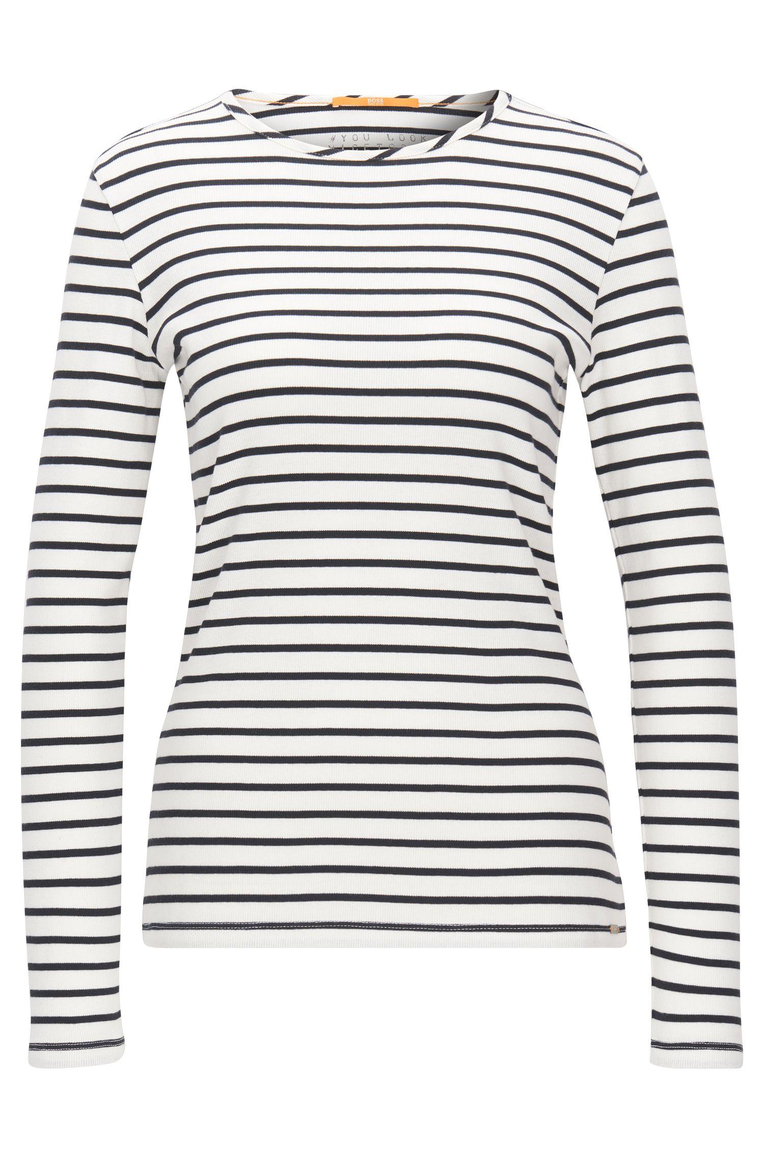 T-shirt Slim Fit à manches longues en jersey côtelé