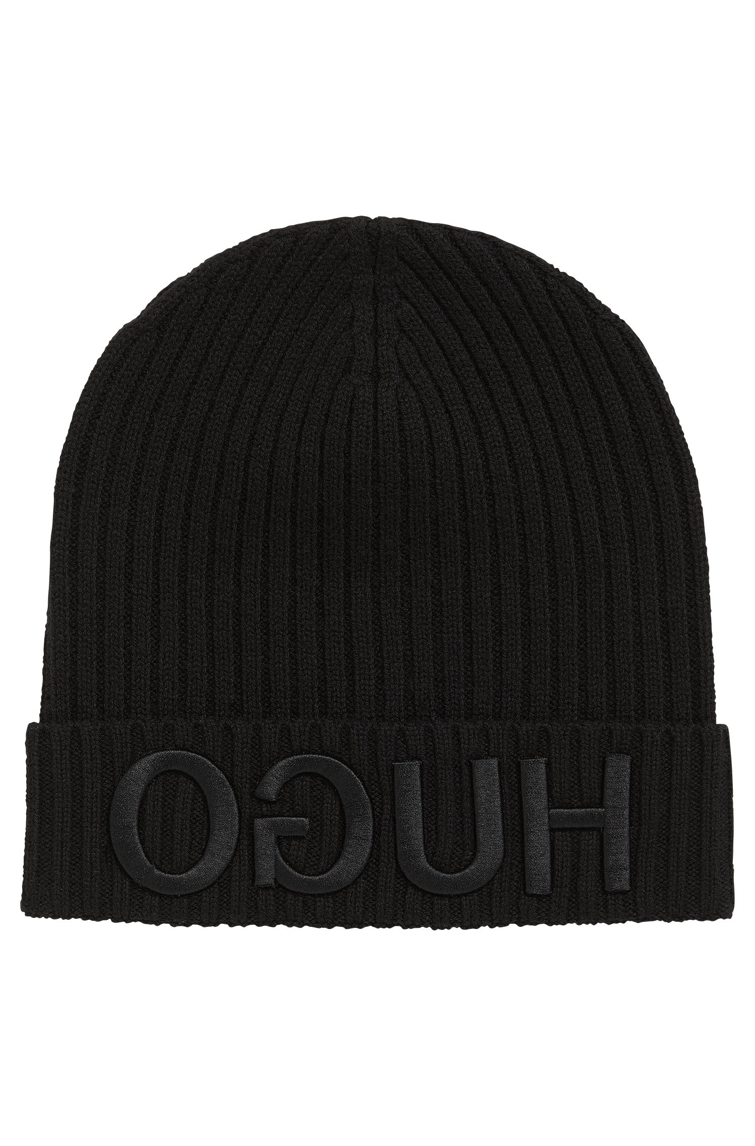 Logo-embroidered beanie hat in knitted wool