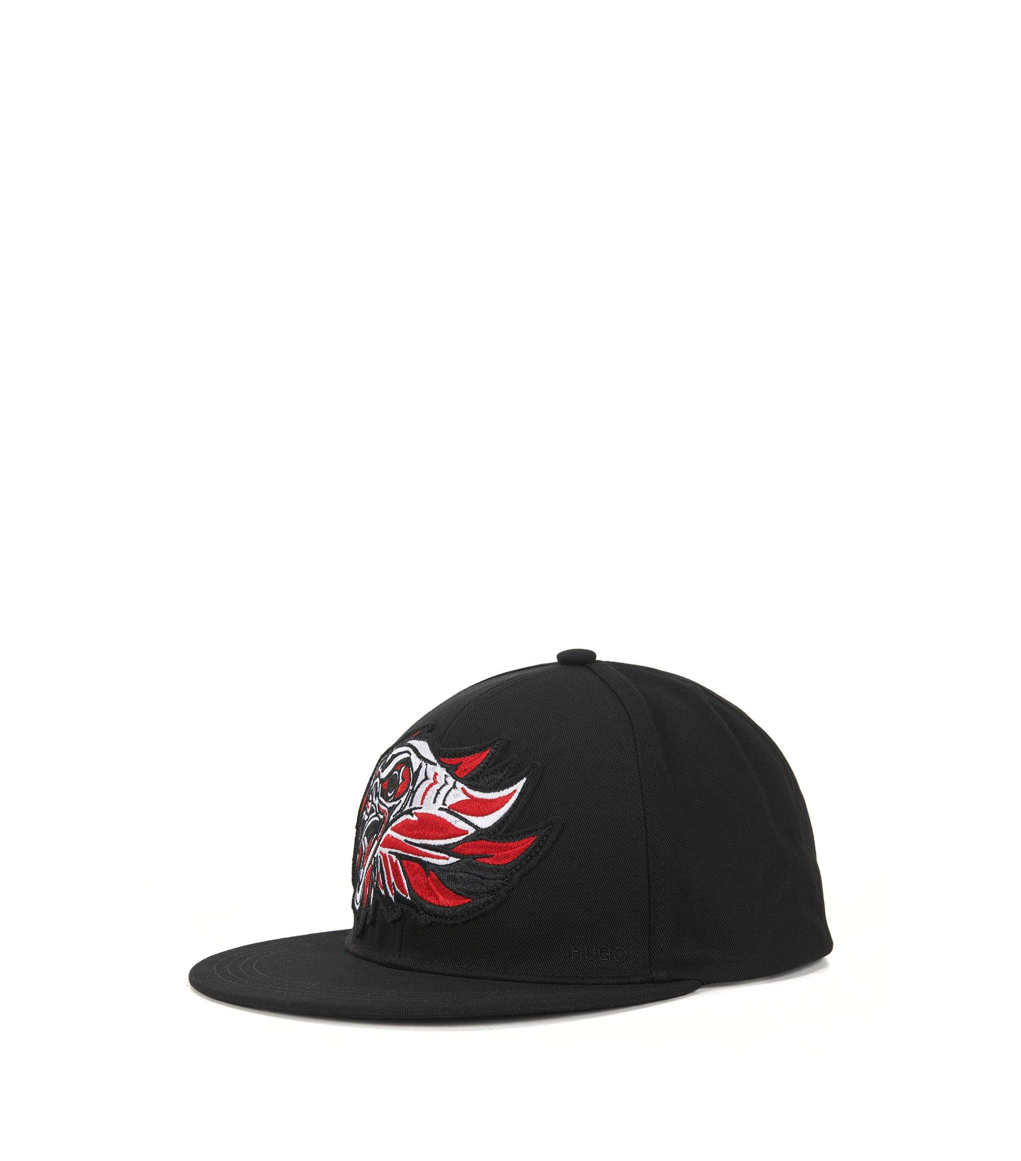Cappellino da baseball in cotone con decorazione raffigurante un'aquila, Nero