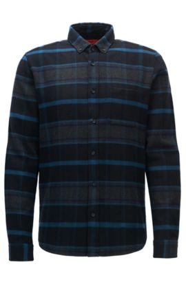 Relaxed-fit checked flannel shirt, Dark Blue