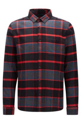 Camisa relaxed fit a cuadros en franela, Rojo
