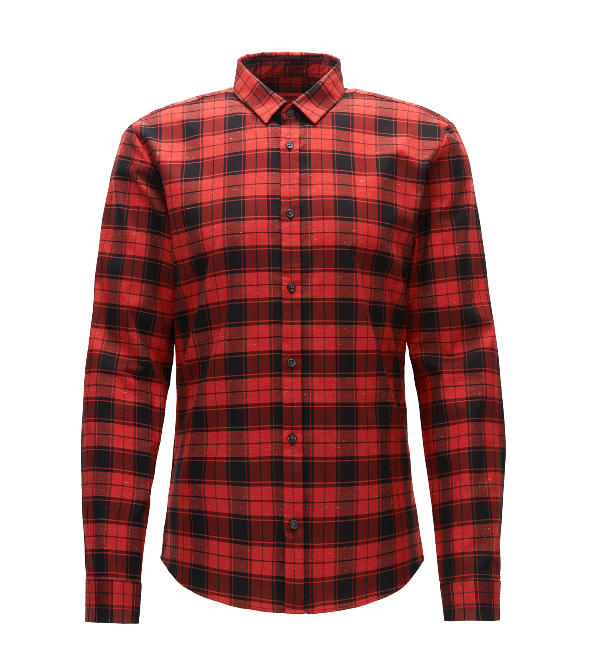Checked slim-fit shirt in Oxford cotton with neps, Red