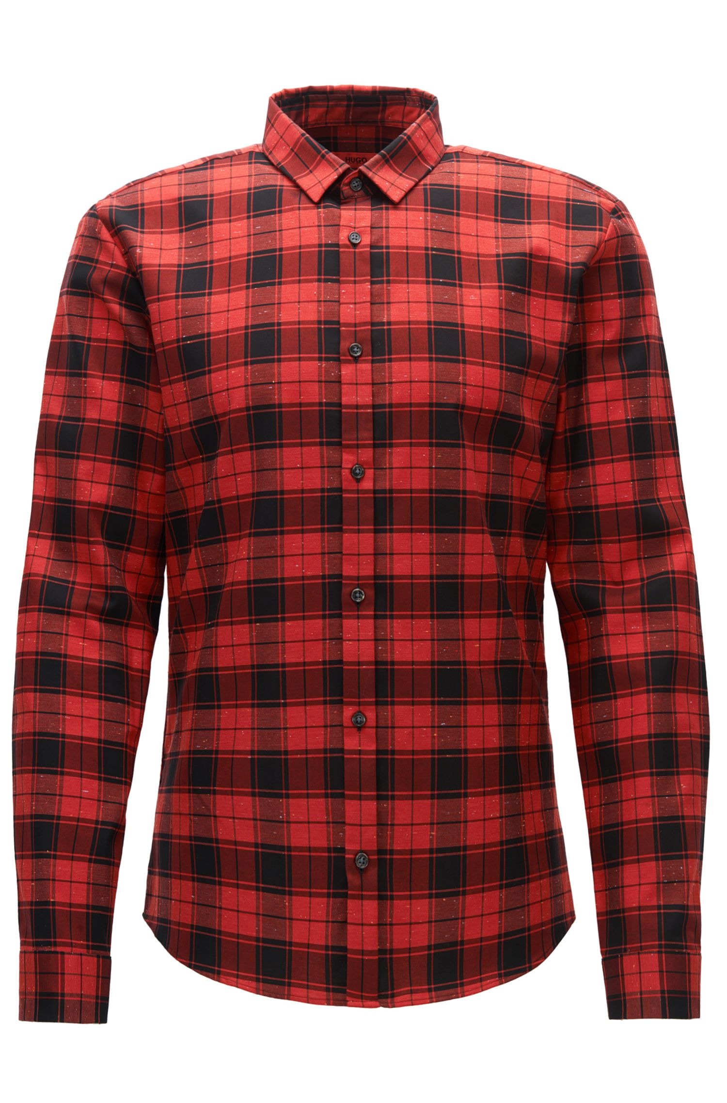 Checked slim-fit shirt in Oxford cotton with neps