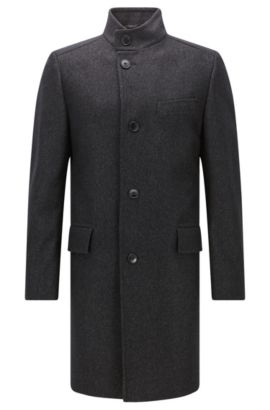 Regular-fit coat in a melange wool blend, Anthracite